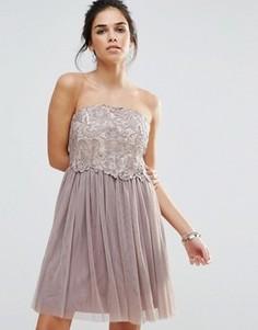 Платье-бандо для выпускного с кружевным лифом Little Mistress - Серый