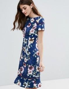 Платье с цветочным принтом и баской по низу Paper Dolls - Мульти