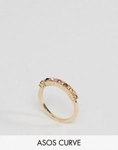 Кольцо с разноцветными камнями ASOS CURVE - Золотой