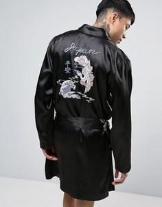 Атласный халат с вышивкой в японском стиле ASOS - Черный