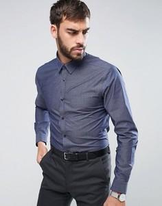 Темно-синяя рубашка классического кроя в горошек New Look - Темно-синий