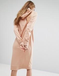 Длинное платье-футболка с капюшоном Noisy May - Розовый