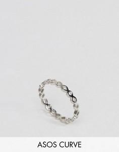 Кольцо на мизинец с вырезами ASOS CURVE - Серебряный