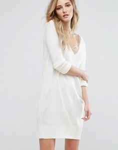 Вязаное платье с глубоким V-образным вырезом JDY - Белый
