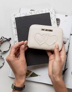 Бумажник с двумя сердцами Love Moschino - Кремовый