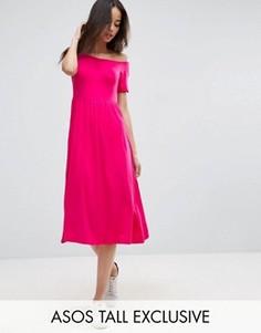 Приталенное платье миди с вырезом сердечком и сборками ASOS TALL - Розовый