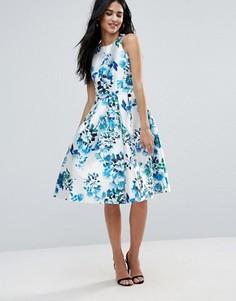 Короткое приталенное платье с цветочным принтом Forever Unique - Синий