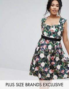 Платье для выпускного с цветочным принтом Paper Dolls Plus - Мульти