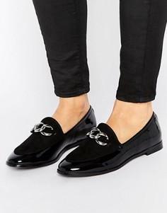 Туфли на плоской подошве с серебристой цепочкой London Rebel - Черный