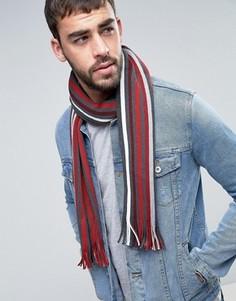 Полушерстяной полосатый шарф Tommy Hilfiger - Красный