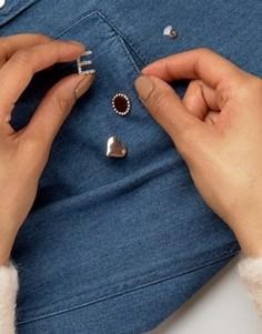 Набор значков в форме сердца и инициала Johnny Loves Rosie - Золотой
