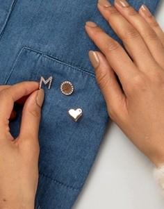 Набор значков в форме сердца и инициала М от Johnny Loves Rosie - Золотой