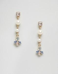 Серьги-подвески с жемчугом и камнями Johnny Loves Rosie - Кремовый