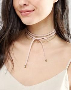 Многоярусное ожерелье-чокер с завязкой Johnny Loves Rosie - Золотой