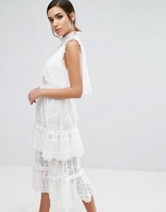 Многослойное платье миди с кружевом Three Floor - Белый