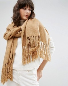 Классический бежевый шарф Pieces - Бежевый