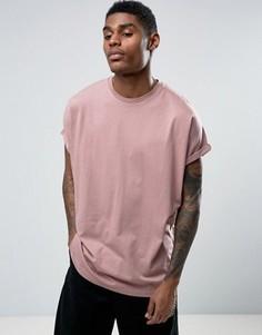 Розовая oversize-футболка с отворотами на рукавах ASOS - Розовый