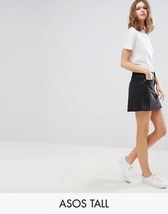 Черная выбеленная джинсовая юбка с заниженной талией ASOS TALL - Черный