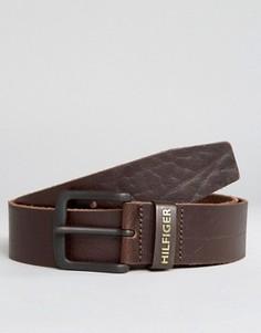 Коричневый кожаный ремень с логотипом Tommy Hilfiger Original - Черный