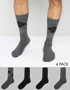 Комплект из 4 пар носков в подарочной упаковке Tommy Hilfiger - Черный