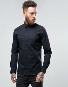 Строгая рубашка скинни в стиле милитари Only & Sons - Черный