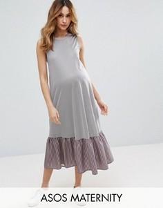 Платье миди в полоску с широкой оборкой по краю ASOS Maternity - Синий