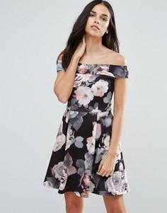 Короткое приталенное платье с крупным цветочным принтом Jessica Wright - Темно-синий