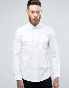 Строгая рубашка скинни в стиле милитари Only & Sons - Белый