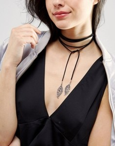 Ожерелье-чокер с завязкой и подвесками-листиками DesignB London - Черный