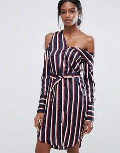 Асимметричное полосатое платье-рубашка Lavish Alice - Мульти