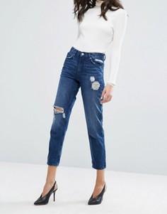 Рваные джинсы бойфренда Miss Selfridge True - Синий