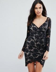 Кружевное платье с длинными рукавами и асимметричным краем Jessica Wright - Черный
