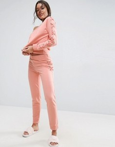 Джоггеры на шнуровке для дома ASOS - Розовый