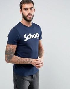 Темно-синяя футболка с логотипом Schott - Темно-синий