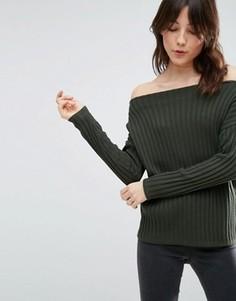 Джемпер в рубчик с открытыми плечами ASOS - Зеленый