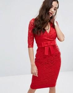 Кружевное платье-футляр с запахом спереди и бантом на талии Vesper - Красный