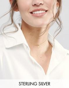 Серебряное позолоченное ожерелье-чокер с кольцом ASOS - Золотой