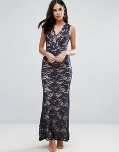 Кружевное платье макси с юбкой годе Jessica Wright - Черный