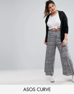 Свободные меланжевые брюки с широкими штанинами ASOS CURVE - Серый