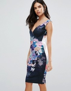 Платье миди с цветочным принтом Jessica Wright - Темно-синий