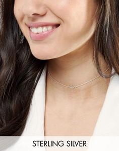 Серебряное ожерелье-чокер с подвеской-губами ASOS - Серебряный