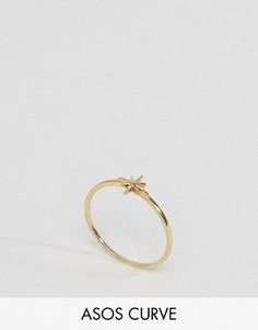 Кольцо из позолоченного серебра со звездочкой ASOS CURVE - Золотой