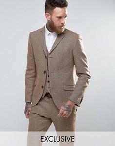 Приталенный твидовый пиджак с шевронным узором Heart & Dagger - Stone