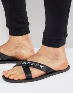 Черные шлепанцы с логотипом Armani Jeans - Черный