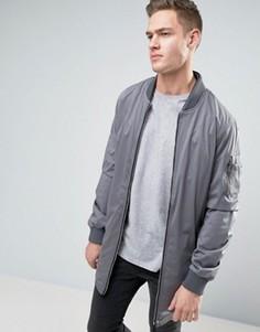 Длинная куртка со сборками и карманами Brave Soul - Серый