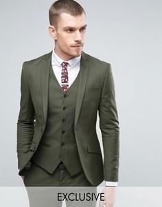 Супероблегающий пиджак цвета хаки Heart & Dagger - Зеленый