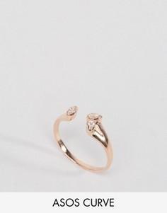 Незамкнутое кольцо из позолоченного серебра с камнями ASOS CURVE - Медный