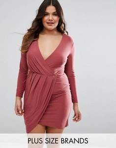 Платье мини с запахом спереди Club L Plus - Фиолетовый