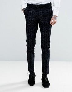 Супероблегающие брюки с бархатной цветочной отделкой Noose & Monkey - Темно-синий