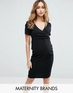 Платье с запахом и короткими рукавами New Look Maternity - Черный